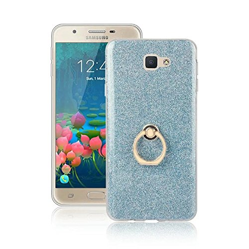 Luxus Bling Sparkle Style Case, Soft TPU [Silikon] Flexible Glitter Back Cover mit Fingerring Stand für Samsung Galaxy J5 Prime ( Color : White ) Blue