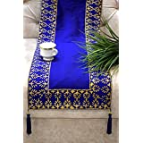 Royal DecoFurnishing Silk Gold Hand Block Printed Blue Ethnic Dining/Coffee/Center Table Runner - Large 90 X 13 Inches - Blue & Golden