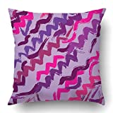 byypplz98 Throw Pillow Covers Geometric Abstract Hand Drawn Zig Zag Lines Sketch African Retro Bright Brush Color Continuity Polyester 18 X 18 inch Square Hidden Zipper Decorative Pillowcase