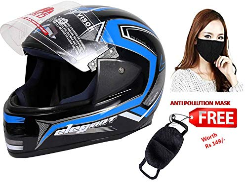 JMD HELMETS Decor D1 Glossy Full Face Helmet with Anti Pollution Mask (Black-Cyan Blue, Large)