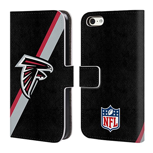 Offizielle NFL Helm Atlanta Falcons Logo Brieftasche Handyhülle aus Leder für Apple iPhone 5 / 5s / SE Streifen