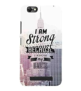 For Lenovo Vibe C :: Lenovo A2020 I am strong because I know my weaknesses, good word, bulding Designer Printed High Quality Smooth Matte Protective Mobile Case Back Pouch Cover by APEX