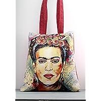 Borsa Shopper FRIDA KAHLO, canapone rosso e gobelin - handmade in Italy