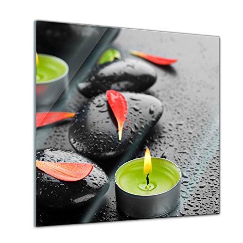 Glasbild - Zen Steine IX - 30x30 cm - Deko Glas - Wandbild aus Glas - Bild auf Glas - Moderne Glasbilder - Glasfoto - Echtglas - kein Acryl - Handmade