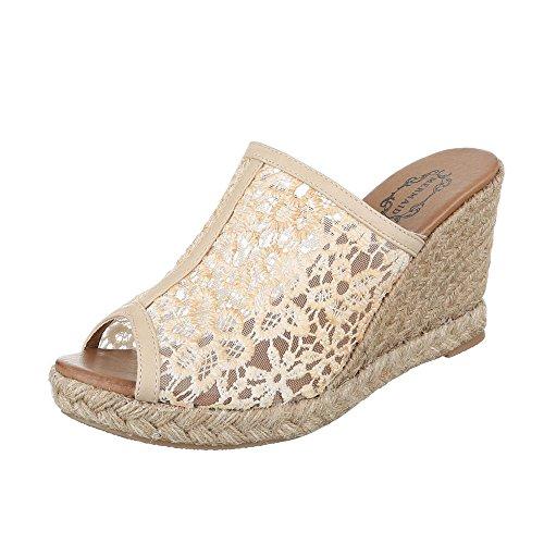 Pantoletten Damen-Schuhe Jazz & Modern Keilabsatz/ Wedge Keilabsatz Ital-Design Sandalen / Sandaletten Beige, Gr 39, 23-M61034C-