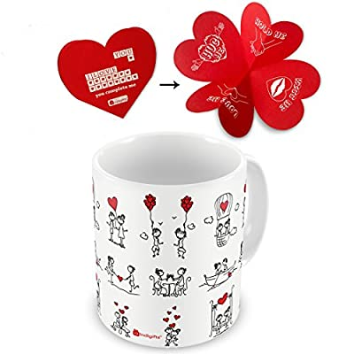 indibni Love Printed Ceramic Mug,White Couple Love Story illustration