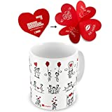 indibni Love Printed Ceramic Mug,White Couple Love Story illustration