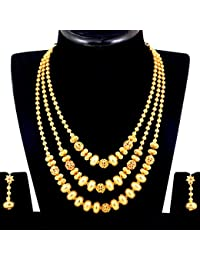 Spargz Gold Plated Brass Metal Three Line Long Necklace Set For Women