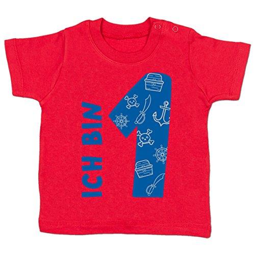 Shirtracer Geburtstag Baby - Ich bin 1 Piraten-Scribble - 12-18 Monate - Rot - BZ02 - Babyshirt - Piraten-mädchen-shirt