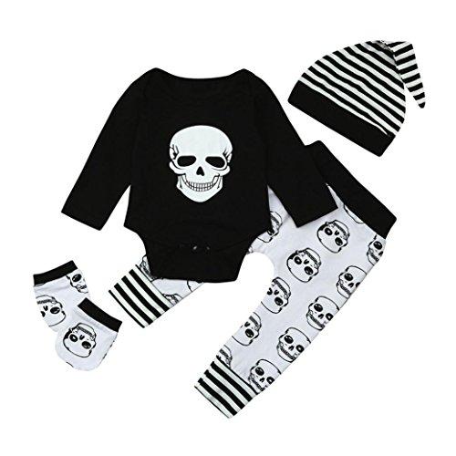 Mingfa.y_Baby clothes Ausverkauf. Baby Halloween Kleidung Set Mingfa 4Knochen Bedruckt Langarm Strampler + Hose + Mütze + Handschuhe Infant Kleinkind Outfits, Kinder, Schwarz, (24M) UK (Halloween Knochen Uk)