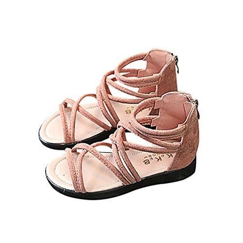 Sandalen Kinder Kind, Sonnena Kinder Kind Kindermädchen Solid Leder Zip Boot Strandsandalen Casual Shoes Baby Girl/Solid/Zip/Sommer/PU/Gummi (Schöne Rosa, 23) -