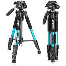 Trípode de viaje - ZOMEi Z666 Profesional Trípode ligero de aluminio con bolsa para Camaras Fotográficas 140cm Azul
