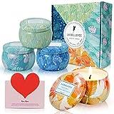 LA BELLEFÉE Duftkerzen Set 100% Sojawachs Kerzen Vier Jahreszeiten Aromatherapie Geschenkset für Hochzeiten, Party und Weihnachten (4 x 160g)