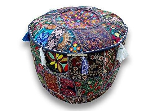 Unten Gefüllt Einfügen (Navya Creations Rundes Sitzkissen/Polsterhocker, Patchwork, Bestickt, indisches Design, bunt, 33x 40,6x 40,6cm)