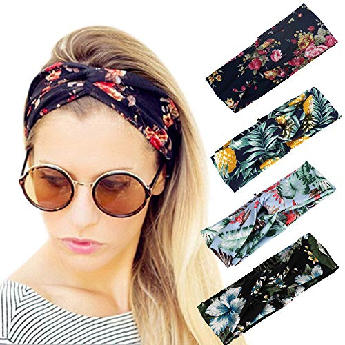 MansWill 4 Stück Damen Knoten Stirnband, Mode Frisuren Rose Blume Haarband/Haar Dekoration Schönheit Kreuz Bandeau/Head Hoop für Frauen Langes Haar, Braid - Pack 2 -
