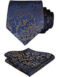 HISDERN Extra long Floral Paisley Cravate Mouchoir Cravate des hommes & Carre de poche Set