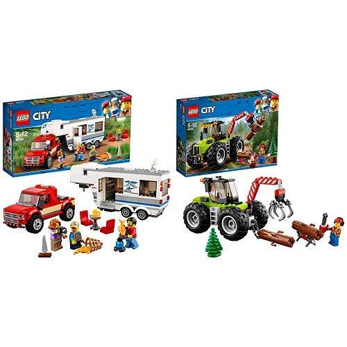 LEGO City 60182 - Starke Fahrzeuge Pickup und Wohnwagen, Spielzeug für Jungen und Mädchen &  City 60181 - Starke Fahrzeuge Forsttraktor, Cooles Kinderspielzeug