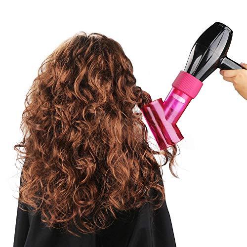 Wind weht Spin Fön Diffusor für Haar lockige Rolle wellig Permed Haartrockner Befestigung Magic Curl Haar Styling-Tool (Rosa) (Rosa Fön Mit Diffusor)