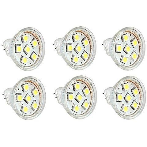 12 Vmonster AC/DC, confezione da 6, 12 V 24 V, 1,5 W, luce fredda, colore: bianco, 6 x 5050 Lampadina LED GU4 MR11, Cluster, Bi-Pin