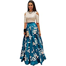 HMP Fashion Latest Designer Party Wear Lehenga Choli New Arrival Heavy Embroidery Free Size Semi Stitch Party Wear For Women On Sale (Sea blue)