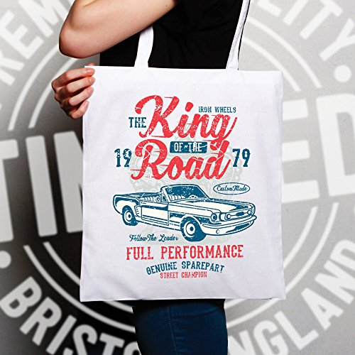 Vintage ? Sacchetto Di Tote King Of The Road Car Racing 1979 Motor Deterioramento, Design, White
