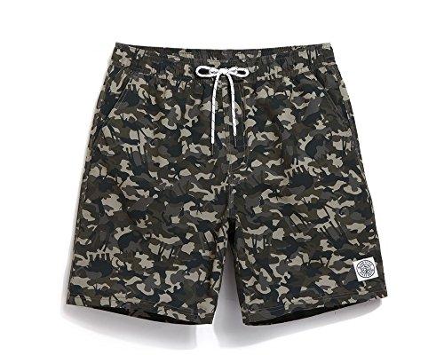 Direkte Mesh Shorts (Lantra Besa Camouflage Wasserabweisend Schnelltrocknend Herren Männer Badehose Badeshorts Knielang Shorts für Wassersport Freizeit im Sommer mit Mesh Slip Typ 4 - S)