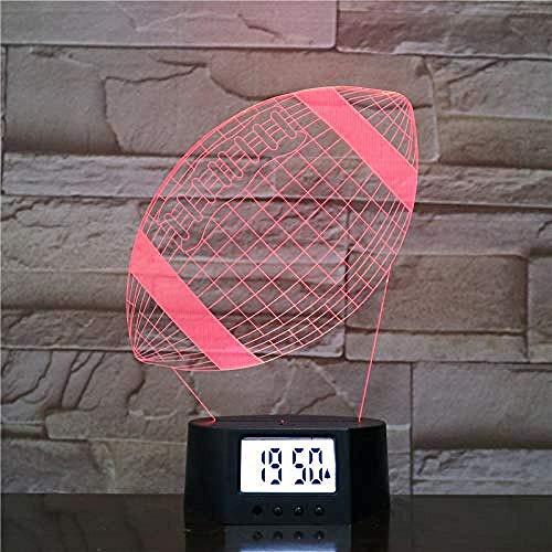 Generic Optische Täuschung 3D Lampe Nachtlampe Wecker Basis American Football 7 Farben Ändern 3D Led Tischlampe Für Schlafzimmer Schlaf Lampe Wohnkultur
