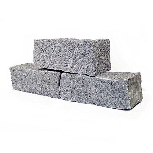 Granit Mauersteine 40 x 20 x 15cm in Hellgrau 1000kg Holzkiste Big Bag