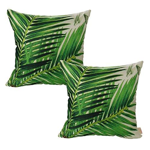 Luxbon 2 Stück Dschungel Sago Cycas Blatt Dauerhaft Leinen Kissenbezug mit Reißverschluss Sofa Büro Dekokissen 45x45 cm Grün - Bett-blatt