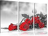 klassische Rote Rosen3-Teiler Leinwandbild 120x80 Bild auf Leinwand, XXL riesige Bilder fertig gerahmt mit Keilrahmen, Kunstdruck auf Wandbild mit Rahmen, gänstiger als Gemälde oder Ölbild, kein Poster oder Plakat