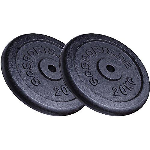 ScSPORTS 40 kg Hantelscheiben-Set Gusseisen 2 x 20 kg Gewichte 30/31 mm Bohrung
