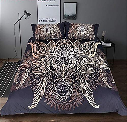 König Bettbezug Bettwäsche-set (NJ-Bettwäsche, 3D König Königin Bettbezug Set Feder Muster Bettwäsche Set Goldene 3D Bettbezug Mandala Boho Bettwäsche Federmuster (Color : Style 8, Size : UK Single 135x200cm))