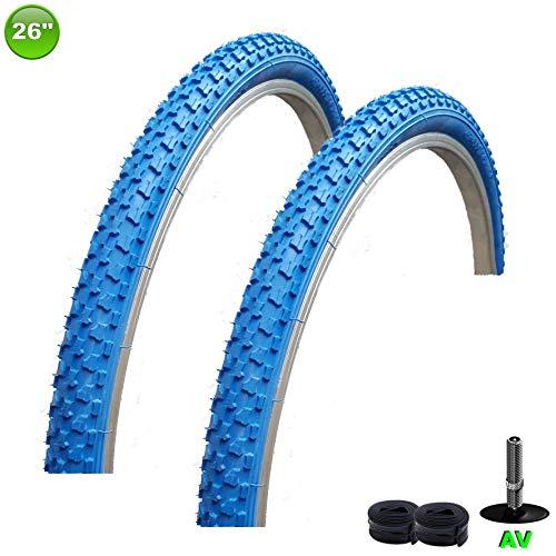 2 x maxxi4you Fahrradreifen Mantel Decke 26 x 1,75-47-559 Blau + 2 Schläuche AV -