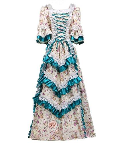 nisches Kleid mit Underskirt Mittelalter Palace Royal Masquerade Partei Kostüm (CC4267A-NI, maßgeschneiderte) (Plus Größe Renaissance Kostüme Für Frauen)
