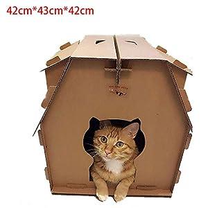 De haute qualité papier ondulé Cat Scratcher chat litière maison de chat bricolage ensemble de combinaison griffe chat avec fenêtre chat