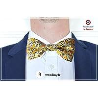 """Noeud papillon (tissu) - """"Chalandry"""" - liberty jaune et vert - Fabriqué en France par Woodiny"""