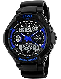 CIVO Mens Boys Digital Watches 50M Electronic Waterproof Military Sports Watch Simple Fashion Design LED Divers Watch for Men Big Face Electronics Light Analogue Digital Wrist Watch Black (Blue new)