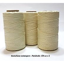 pech cerato filo 150Tex X 2colore bianco lino filato, SCHUSTER filo cerato, Sattler Garn Sattler zwirn Spago naehfaden fibra naturale Medioevo appendiabiti
