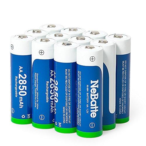 NeBatte 12x AA 2850mAh 1.2V Ni-MH Lot de 12 Piles Rechargeables Batterie 1200 Cycles d'auto-décharge de capacité élevée 3 étui de Rangement