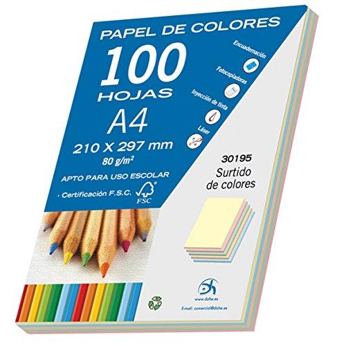 Dohe- Pack de 100 Papeles A4, 80 g, Pastel, Color Surtido (30195)