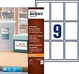 Avery 180 Etiquettes Autocollantes Amovibles (9 par Feuille) - 62x89mm - Impression Laser, Jet d'Encre - Blanc (L7108REV)
