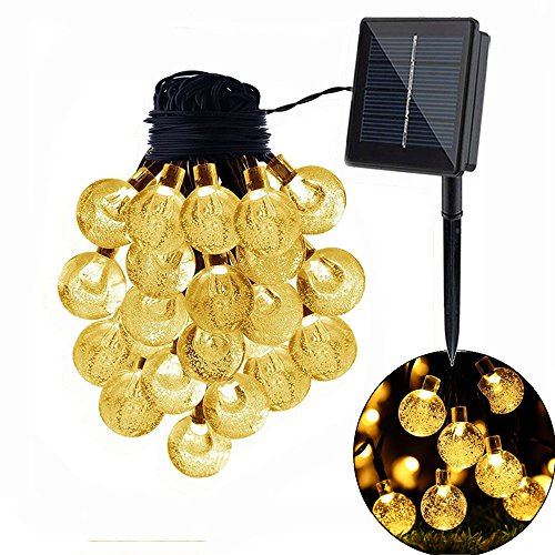 Shiyu 30LED Solar string Lights, 8,2m, 2modalità luce esterna impermeabile Globe Fairy Starry luci per giardino, casa, matrimonio, patio, estivi/festa di Natale & # xFF08; bianco caldo/bianco) Warm White-6.5m/21.32ft