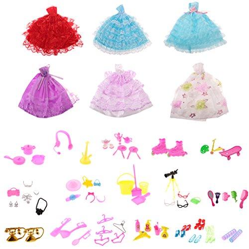 uppe trägerloses Kleider / Ballkleid mit 80 Stück Puppenzubehör für Barbie / Momoko / Blythe / Pullip Puppen (ohne Puppen) (Princess Dress Up Kleidung)