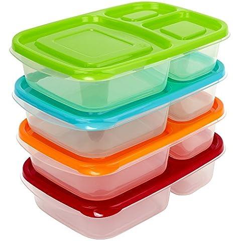 Premium Bento Lunch Box Container (4Pack)–3-fach–sunsella Buddy Boxen (nicht auslaufsicher)