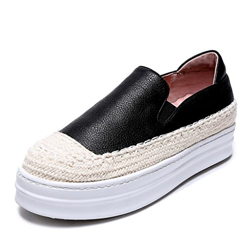 Femmes Fait Main Cuir Mokassin plateforme Loafers Chaussures Creepers Noir