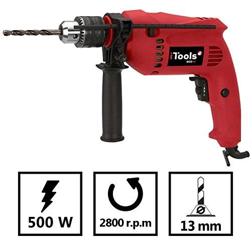 Preisvergleich Produktbild Schlagbohrmaschine Itools 500W–Bohrfutter 13mm–Tempomat–Zubehör inklusive–Befestigungstechnik