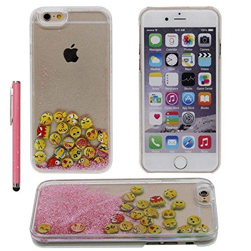 iPhone 6S Plus Case Flüssigkeit Wasser Hülle, Transparent Hart Cover mit Fließend Bunter Sand / Interessante Emoji Entwurf für Apple iPhone 6 Plus 6S Plus 5.5 inch Case Mit 1 Stylus-Stift rosa