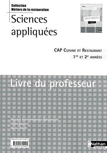Sciences appliquées - CAP Cuisine et Restaurant - Livre du professeur par Collectif