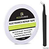 Eco-Fused Nastro Adesivo da Usare per Riparazioni Cellulari - Nastro da 2 mm - Include Anche 1 Paio di Pinzette/Panno di Pulizia in Microfibra (Bianco)
