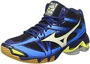 MIZUNO V1GA176571 Wave Bolt 6 Men's Volleyball Shoes, Black/White/Blue D